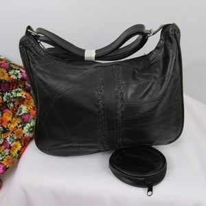 Soft  Black Patch Leather Bag w/ Coin Purse